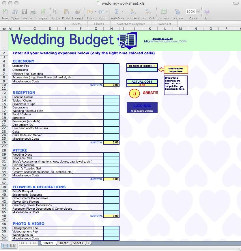 Wedding Budget Worksheets  Cakeland Designs Blog