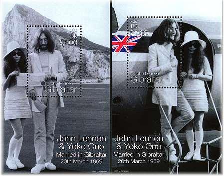 The Beatles Polska: Znaczek z okazji 30 rocznicy ślubu Johna i Yoko w Gibraltarze